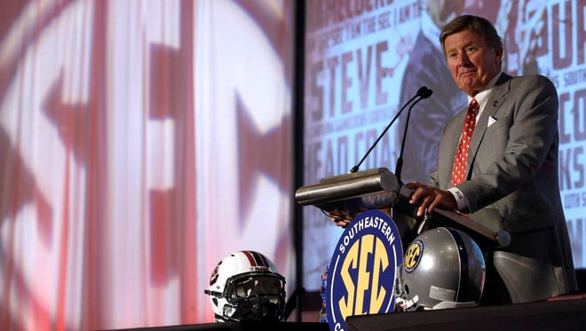 South Carolina coach Steve Spurrier speaks to the media at the SEC Media Days on Tuesday.