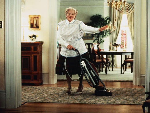 """ROBIN WILLIAMS' BEST MOVIES: """"Mrs. Doubtfire"""" (1993): Robin Williams stars as a sort of low-rent Tootsie, an actor who disguises himself as a housekeeper so he can spend time with his kids. His ex (Sally Field) won't let him around them, so he goes the cross-dressing route. If you liked Williams in antic roles, this is your movie (although he's better here than he often is in that kind of thing)."""
