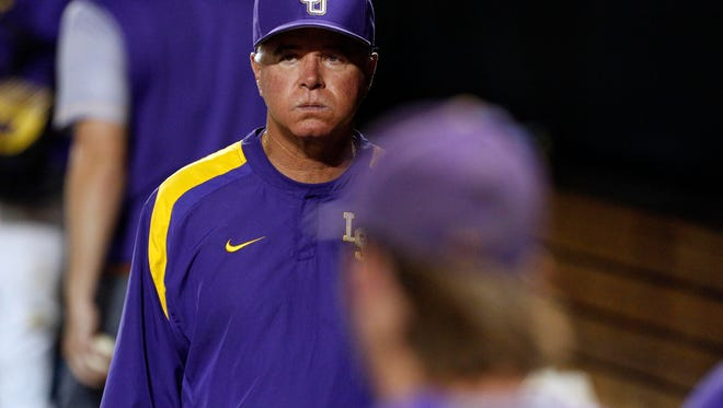 Jun 27, 2017; Omaha, NE, USA; LSU Tigers head coach Paul Mainieri (1) reacts during the game against the Florida Gators in game two of the championship series of the 2017 College World Series at TD Ameritrade Park Omaha. Mandatory Credit: Bruce Thorson-USA TODAY Sports