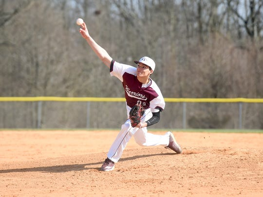 Gettysburg's Josh Topper delivers a pitch in the first