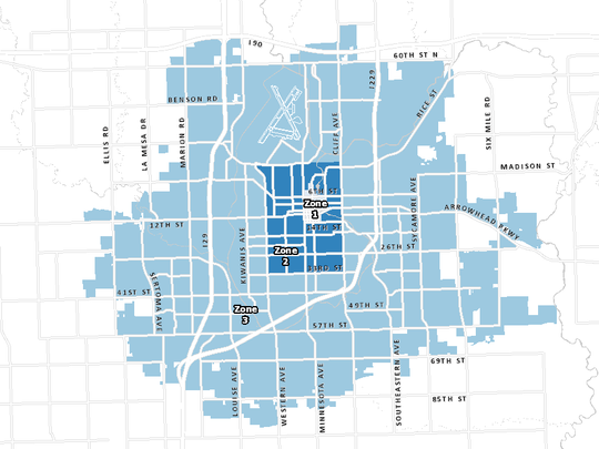 Zone map for snow removal in Sioux Falls.