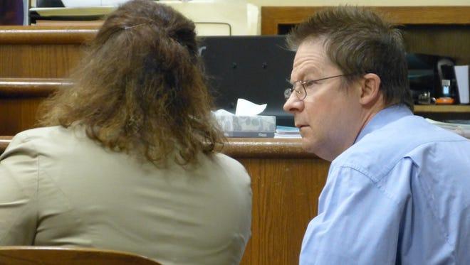 Ralf Reuschel listens to senior deputy public defender Cedar Vaughan following his murder conviction Thursday in Shasta County Superior Court.