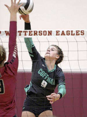 Sophomore outside hitter Leah Shumate is among the leaders for the Coffman girls volleyball team and first-year coach Max Miller. The Shamrocks won their 13th consecutive league championship last season.