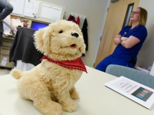 Robotic comfort animals are one of many tools in use in the Behavioral Recovery Program area Tuesday, March 27, at the St. Cloud VA Health Care System in St. Cloud.