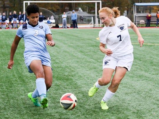 West Morris midfielder Sarah Hoos and Chatham sophomore