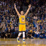 March 29, 2016; Oakland, CA, USA; Golden State Warriors guard Stephen Curry (30) celebrates against the Washington Wizards during the second quarter at Oracle Arena. Mandatory Credit: Kyle Terada-USA TODAY Sports