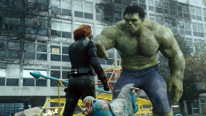 "Natasha Romanoff/Black Widow (Scarlett Johansson, left) and Bruce Banner/Hulk (Mark Ruffalo) in a scene from the motion picture ""Avengers: Age Of Ultron."""