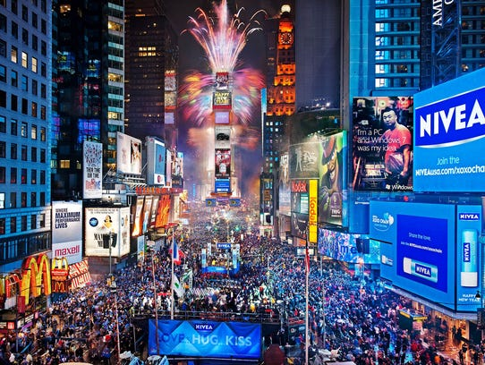 Times Square during New Year's Eve.