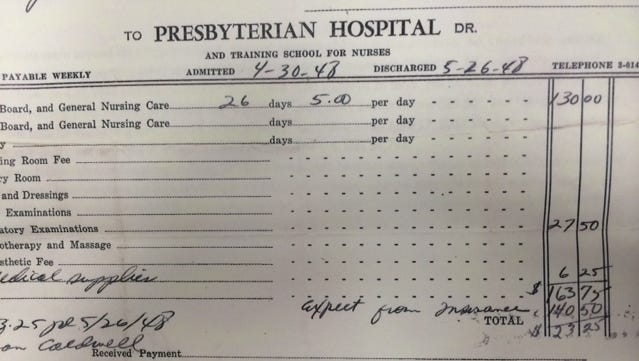 This bill for a 26-day hospital stay in 1948 totaled $163.75, or $6.30 a day.