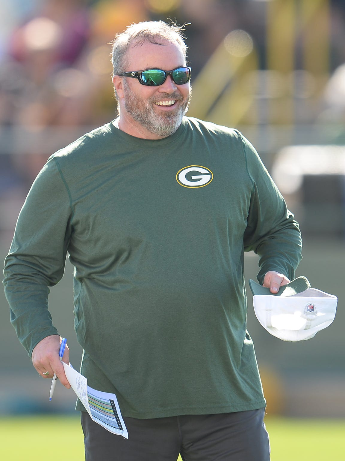 Coach Mike McCarthy during Green Bay Packers Training Camp at Ray Nitschke Field July 30, 2015.