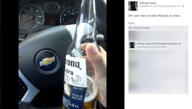"A Dec. 6, 2014, photo posted on Jonathan Leyva's Facebook page contains a comment ""Yep, I'm breaking the law."""