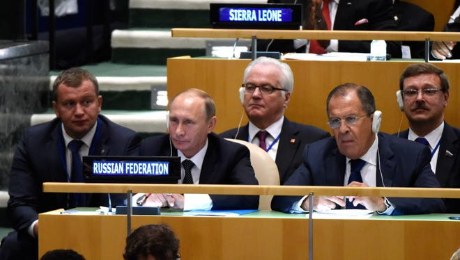 Russian President Vladimir Putin and his delegation attend the United Nations General Assembly on Monday in New York.