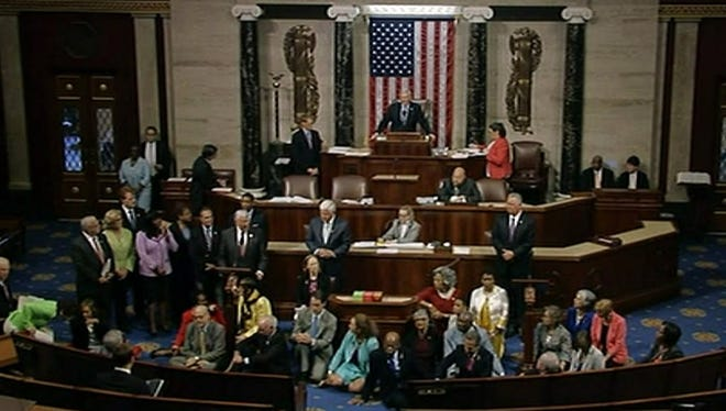 A screen grab from AP video of the Democratic sit-in in the House of Representatives.