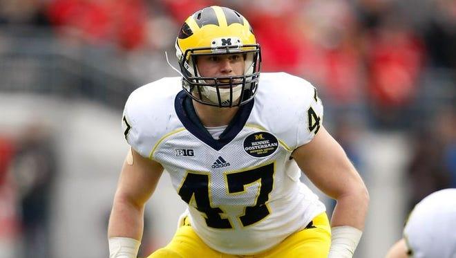 Michigan inside linebacker Jake Ryan was the Green Bay Packers' fourth-round draft choice on Saturday.