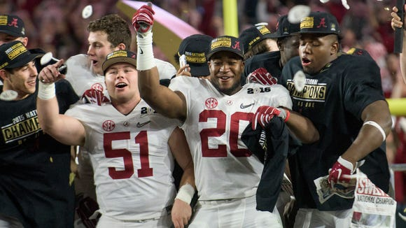 Alabama linebacker Shaun Dion Hamilton (20) celebrates with teammates following the College Football Playoff Championship Game on Monday January 11, 2016 at University of Phoenix Stadium in Glendale, Az.