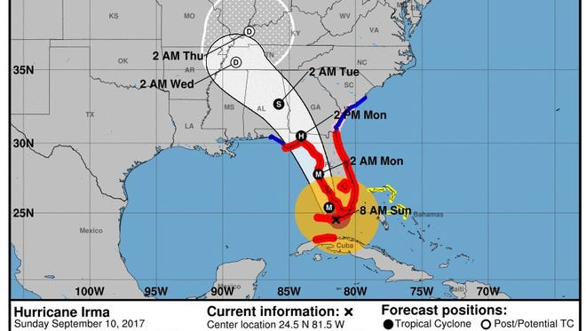 The National Hurricane Center's projected path for Hurricane Irma as of 8 a.m. on Sunday, Sept. 10, 2017.
