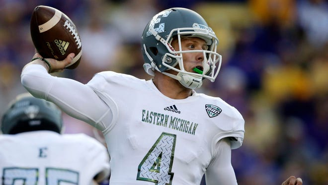 Eastern Michigan quarterback Brogan Roback passes against LSU on Oct. 3, 2015.