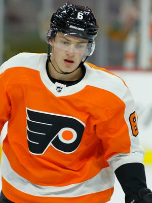 Travis Sanheim has 15 points in his first 14 games since being sent down to the Lehigh Valley Phantoms.