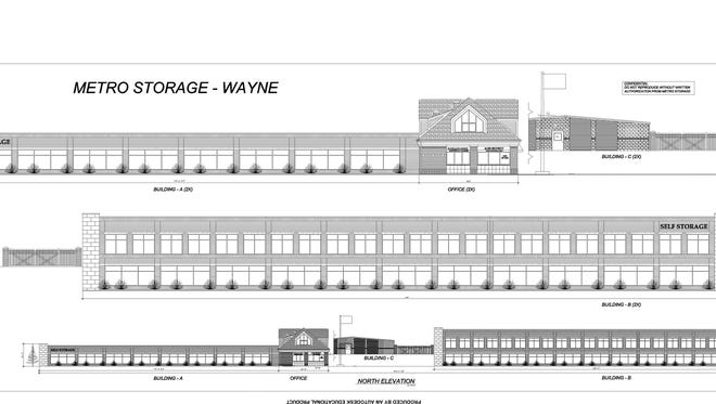 Drawings of a proposed self-storage facility that would be built on Michigan Avenue in Wayne.