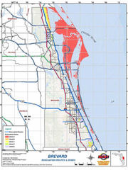 Residents on Brevard's barrier islands, marked in red,