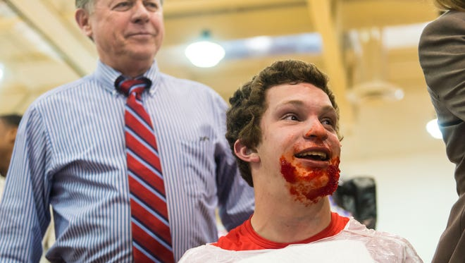 Jared DeWinne shares a smile after Vineland High's Jello Eating Competition put on by the National Honors Society at Vineland High School on Tuesday, March 21.