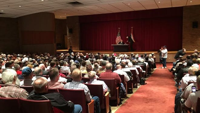A crowd of roughly 500 filled the Fawcett Center at Ohio State University to air their grievances about the Central States Pension Fund rescue plan to Kenneth Feinberg with the U.S. Treasury Department.