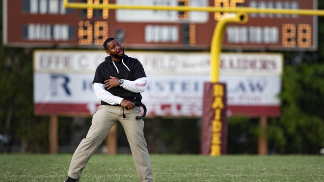Pahokee coach DJ Boldin reacts during the 2019 Muck Bowl. Pahokee advanced to the Class 1A state semifinals last season, but this year will be competing for a South Florida championship after the Palm Beach County school district opted out of the state playoffs.