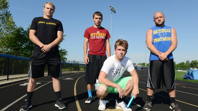 The Maysville High School 400 meter relay team is heading to the State Track Meet this weekend. Chase Roberts, bottom, Foulon Sheppard, left, Chase Himmelspach and Tristan Murphy make up the team. Roberts is will also take part in the 100 and 200 meter dashes and Himmelspach will compete in the pole vault.