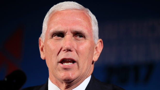 Vice President Mike Pence speaks at the Maverick PAC annual Mavericks Conference in in Washington on July 15, 2017. Pence will speak at the Tennessee Republican Party's annual fundraiser Thursday.