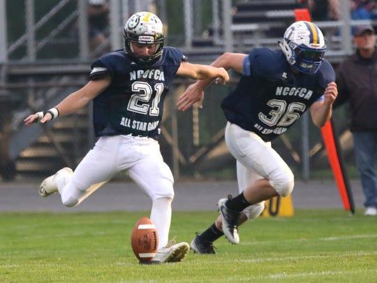 Clear Fork's Sloan Bowman kicks the ball during the