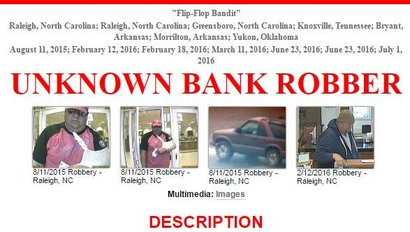 """The FBI is seeking the public's help in identifying a serial bank robber whom investigators have dubbed the """"flip-flop bandit."""""""