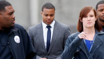 Former New Orleans Saints running back Pierre Thomas, who was with former teammate Will Smith the night he was killed and arrived at the scene shortly the shooting, leaves Orleans Parish Criminal District Court in New Orleans, Wednesday Dec. 7, 2016,  after testifying in the trial of Cardell Hayes. Hayes shot Will Smith to death in a road rage incident, in which Smith's wife was also shot and wounded.