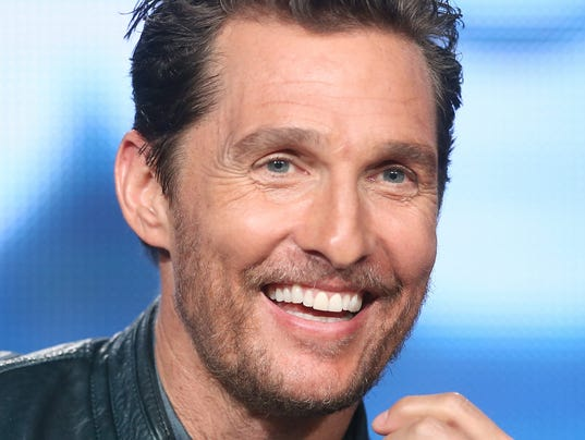 Matthew mcconaughey shown at the quot true detective quot panel discussion at