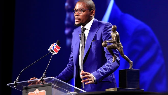 Kevin Durant gave an emotional acceptance speech last May.