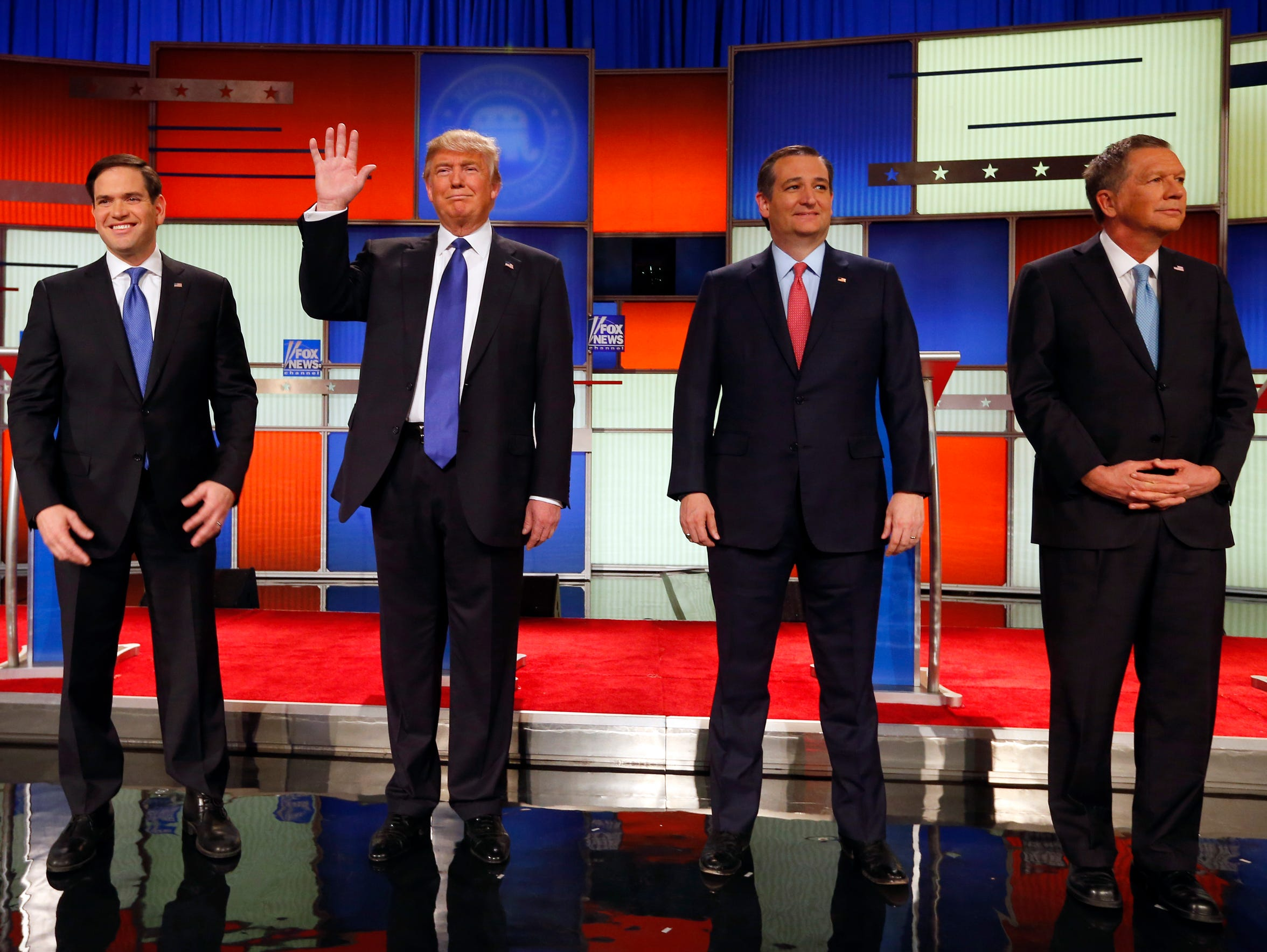 Republican presidential candidates Marco Rubio, Donald
