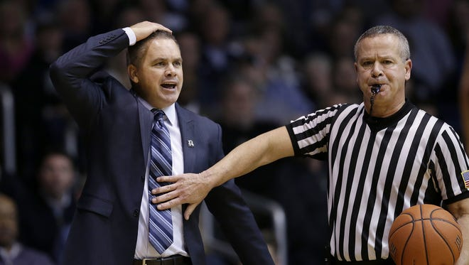 Butler Bulldogs head coach Chris Holtmann argues with NCAA Gary Prager in the second half of the Big East Conference basketball game Tuesday, Feb 16, 2016, evening at Hinkle Fieldhouse. The Butler Bulldogs defeated the Creighton Bluejays 88-75.