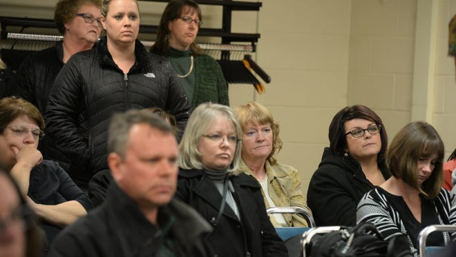Teachers and the public attend the Richmond Community Schools board meeting Wednesday, Feb. 24, 2016, at the RCS administration building in Richmond.
