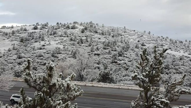Crystal Lyn snapped this photo of snowy Prescott on Saturday, Dec. 12, 2015.