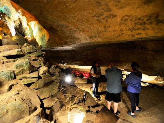 Seneca Caverns allows visitors to see Ole' Mist'ry River, an underground river that flows through the cave.