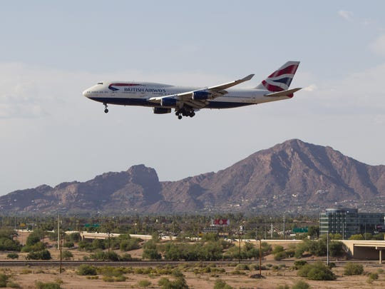 A British Airways 747-400 lands on Tuesday, June 28,