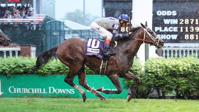 Maraud wins the American Turf at Churchill Downs in Louisville, Kentucky, on Saturday, May 5, 2018.