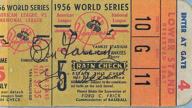 A ticket stub from Don Larsen's 1956 World Series perfect game. This stub was signed by Larsen and the catcher that day, Yogi Berra.