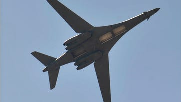 Grounded B-1 bombers undergoing maintenance at Tinker Air Force Base