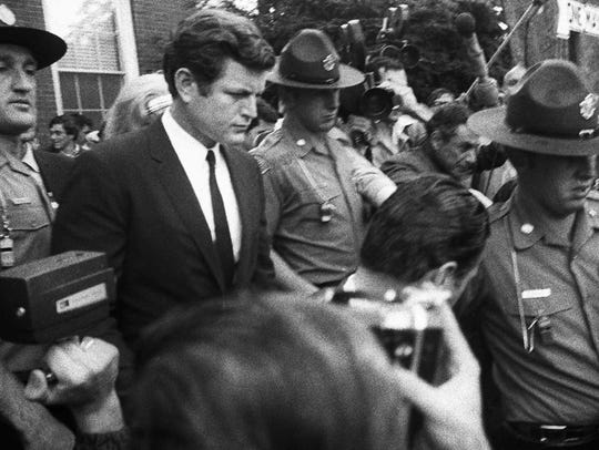 U.S. Sen. Edward Kennedy on July 25, 1969, as he leaves