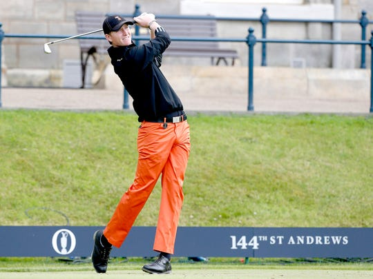 Jordan Niebrugge tees off on the first hole during the final round of the 2015 British Open at St. Andrews.