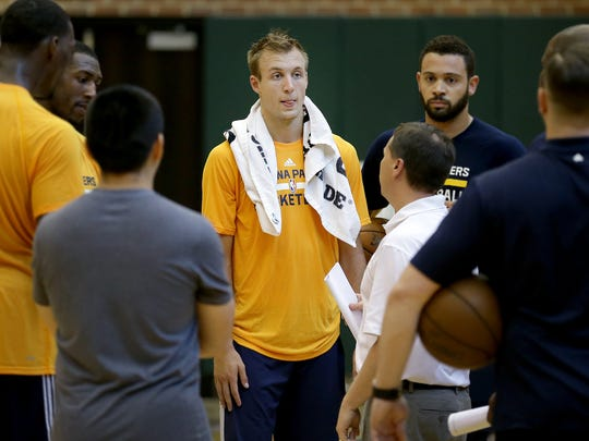 Luke Kennard, from Duke, following his workout for the Pacers. The Indiana Pacers held another pre draft workout for several possible NBA draft pick at Monday, June 5, 2017, afternoon at Bankers Life Fieldhouse.
