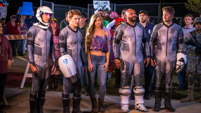 "Gavin Free (from left),  Michael Jones, Allie DeBerry, Colton Dunn  and Burnie Burns in ""Lazer Team."""