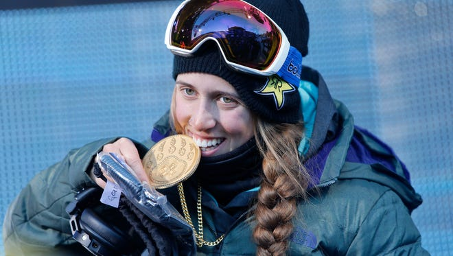 ASPEN, CO - JANUARY 22: (FRANCE OUT) Maddie Bowman of USA takes 1st place during the Winter X Games Women's Ski Superpipe on January 22, 2015 in Aspen, Colarado. She won again in 2016. (Photo by Nathan Bilow/Agence Zoom/Getty Images)