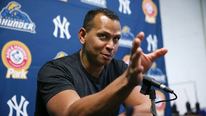 New York Yankees third baseman Alex Rodriguez answers a question before a minor league rehab start for the Trenton Thunder at Arm & Hammer Park Tuesday, May 24, 2016, in Trenton, N.J.