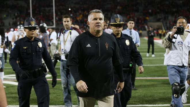 Arizona State head coach Todd Graham after the Wildcats defeated ASU during the 90th Territorial Cup game on Nov. 25, 2016 at Arizona Stadium in Tucson, Ariz. #territorialcup